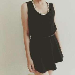 黑色綁帶小洋裝(附腰帶)#大掃除五折
