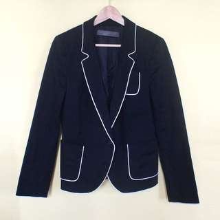 Zara White Lined Black Blazer