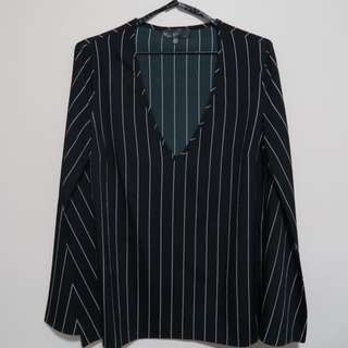 Missguided Striped Bell Sleeve Top