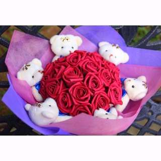 Cute 6 Pcs Teddy Bear Plushie Rose Bouquet Flower for Gifts Valentines Day Gifts ( 6 Teddy Bear )