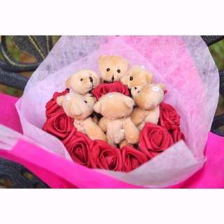 Cute 6 Pcs Brown Teddy Bear Plushie Red Roses Bouquet Flower for Gifts Valentines Day Mothers day Gifts Rose Bouquet