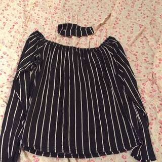 12 Striped Off Shoulder & Matching Neck Piece