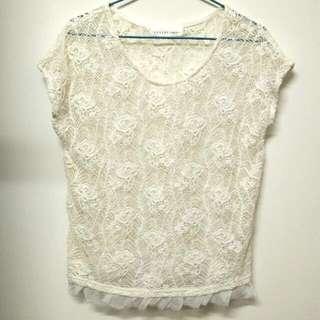 8happy米色玫瑰圖案蕾絲罩衫