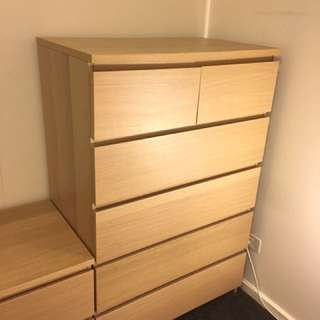 Chest of 6 drawers, oak veneer