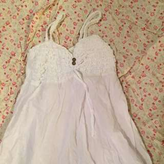 Sz 12 White Summer Dress Stretchy & Pretty