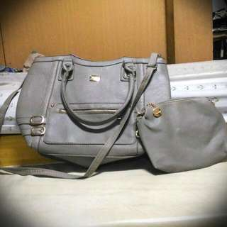 Kimbel Grey-coloured Hand/Sling Bag w/ Free Pouch (Pwede din school or panggala Bag)