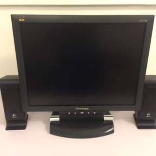 15inch ViewSonic Monitor complete with monitor & power cables and FREE pair of Logitech Portable Speakers