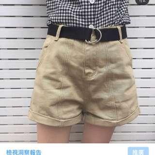 韓版跨腿捲邊高腰褲 送皮帶