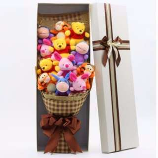 Cute Winnie the Pooh Bear Piglet Tigger Plushie Rose Bouquet in Box Flower for Gifts ( 12 pcs of Cute Winnie the Pooh Bear Piglet Tigger Plushies )