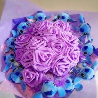 Cute 11 Pcs Blue Stitch Plushie Purple Roses Bouquet Flower for Gifts Valentines Day Mother's Day Gifts ( 11 Stitch Plushie )