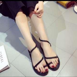 麻花 編織 繞踝 細帶 平底 涼鞋