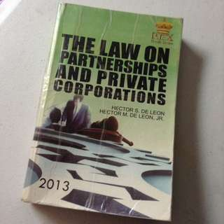 Law On Partnerships And Private Corporations By De Leon