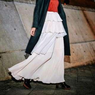 Marjorie marves 細摺多層雪紡長裙/全新粉M