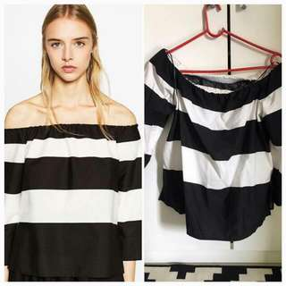 Original Zara Top Black and White Stripe