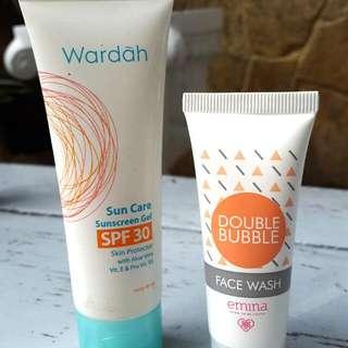 Bundling! Wardah Sun Screen & Emina Double Bubble Face Wash