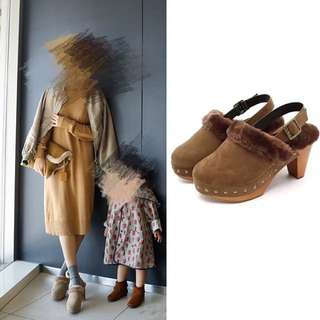 Fluffy Brown Mules