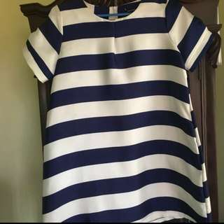 Apostrophe Striped dress (navy blue and white)