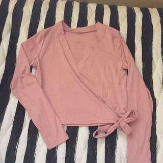 Pink Wrap Crop Top
