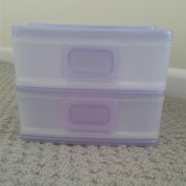 2 Draw Makeup/Stationary Storage Mini