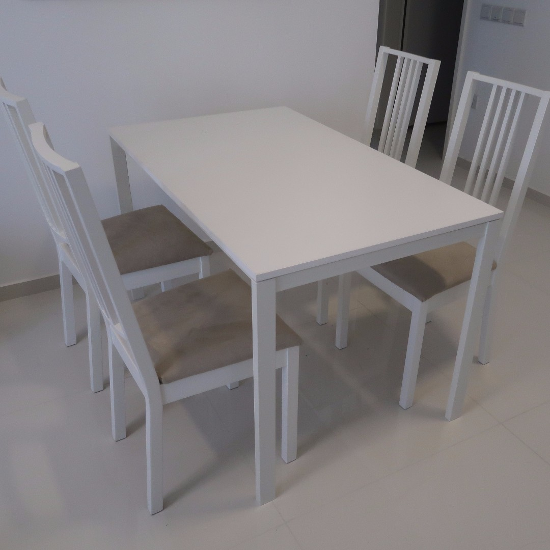 4 Ikea Dining Chairs Dining Table For Sale Moving Out Sale Furniture Tables Chairs On Carousell