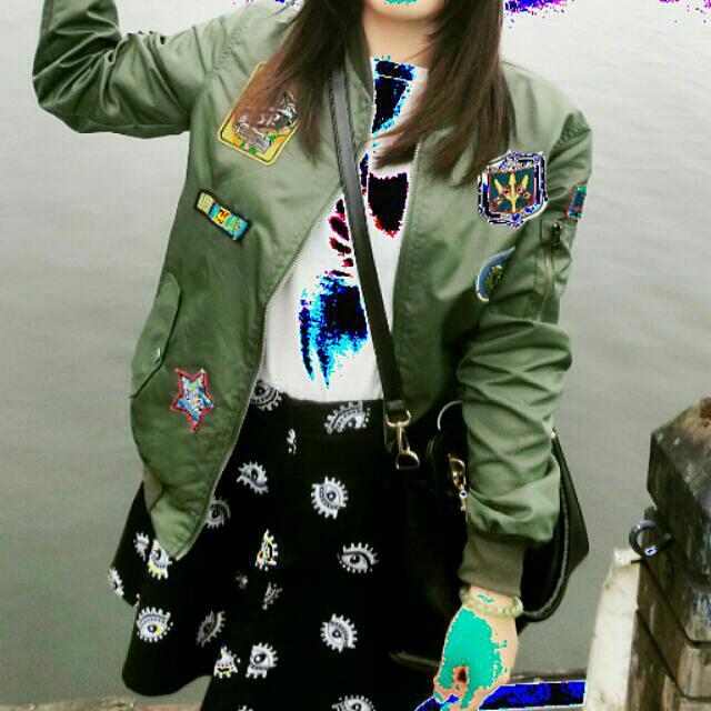 墨綠軍綠色個性徽章飛行外套棒球外套 #交換最划算