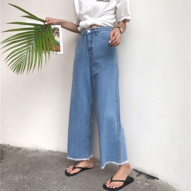 寬鬆顯瘦牛仔寬褲