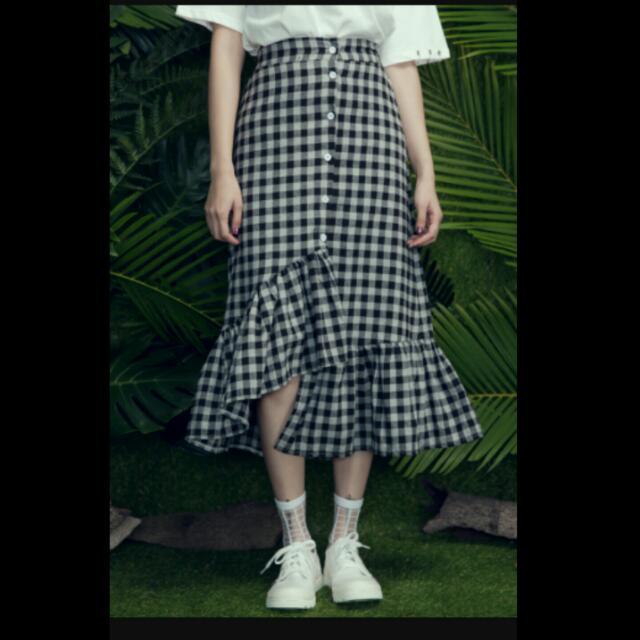格子魚尾裙