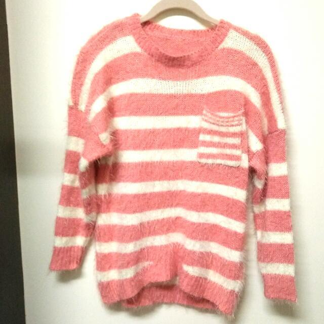 粉紅條紋 毛海毛衣