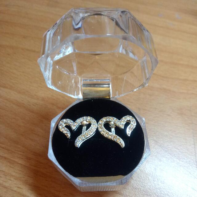 夾式耳環 奢華水鑽鑲嵌#舊愛換新歡