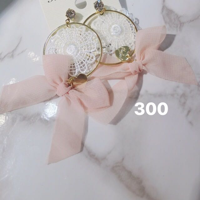 🎀韓- 蕾絲蝴蝶結耳環🎀