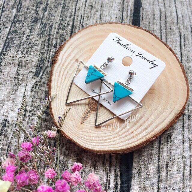 土耳其藍 三角耳環 穿洞耳環 韓國製