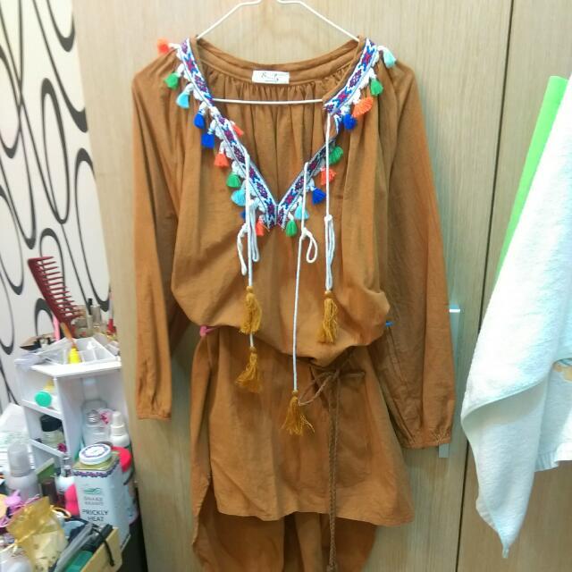 韓貨 民俗風 波西米亞 洋裝