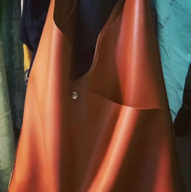 單肩背 子母包 皮軟 水桶包 黑色 棕色