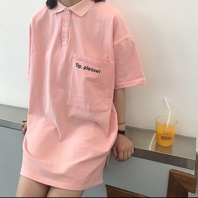 韓妞 英文字母連身裙 上衣 polo 領粉色上衣