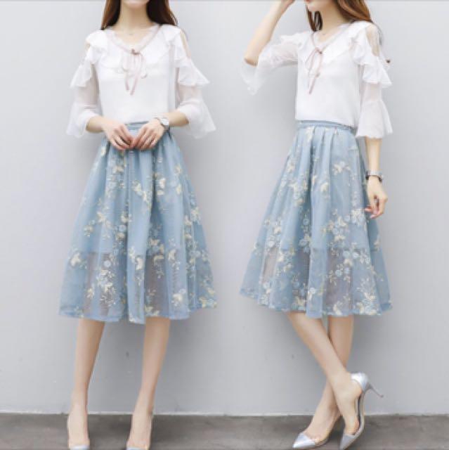 全新轉售)韓版雪紡兩件式套裝群 A字網紗雪紡半身裙 氣質修身雪紡荷葉邊上衣大碼