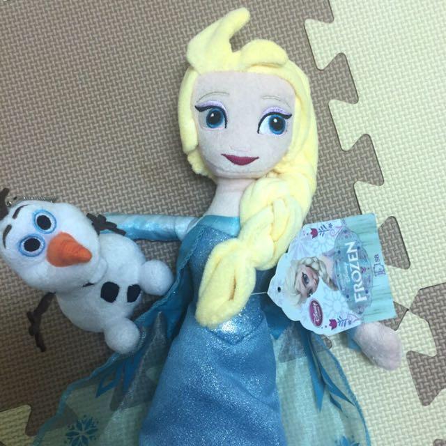冰雪奇緣 FROZEN迪士尼  Elsa 雪寶 娃娃 正版 吊飾