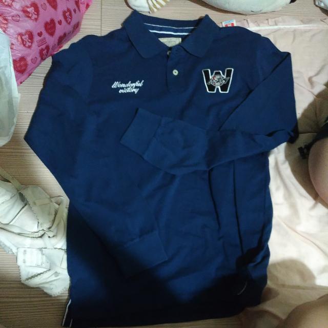 藍色 長袖poll衫 襯衫 長袖T 休閒上衣