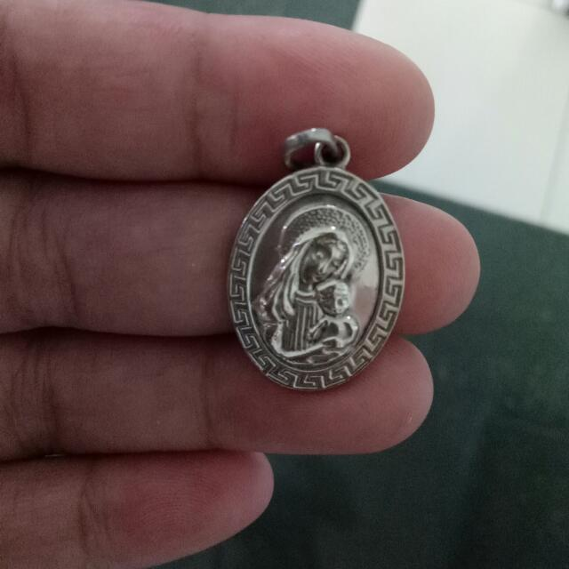 💯 PURE SILVER !!!!! Mother And Child Pendant