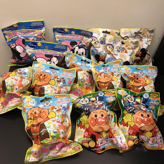 全新 迪士尼卡通米奇米妮Tsum&麵包超人&多啦a夢玩具總動員入浴劑沐浴(球)