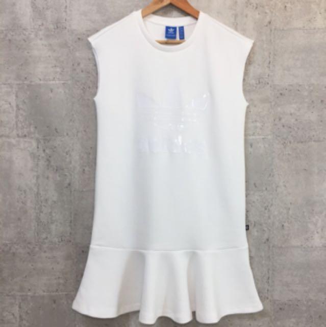 Adidas愛迪達白色洋裝魚尾裙