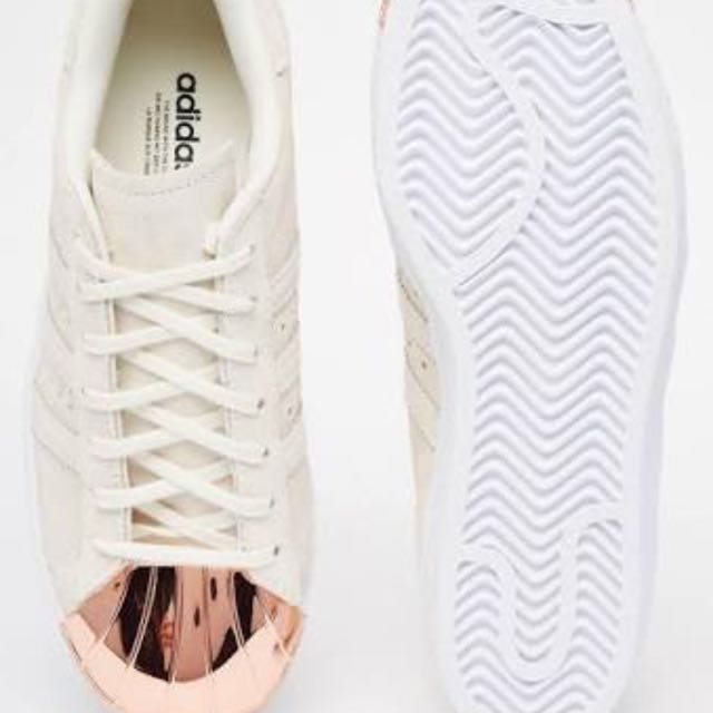 62ebac217046a Adidas Originals Superstar 80s Rose Gold Metal Toe Cap Trainers ...