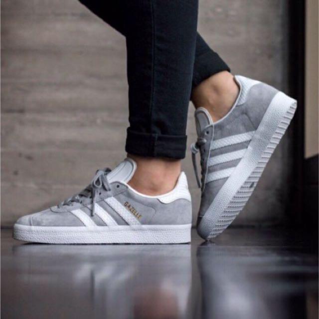 ‼️降價‼️AdidasGazelle grey 水原希子 板鞋 灰色 百搭 23.5cm