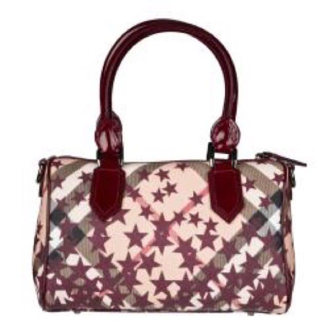 db3ebf4a2c02 Authentic Burberry Nova Check Star Red Bowler Bag