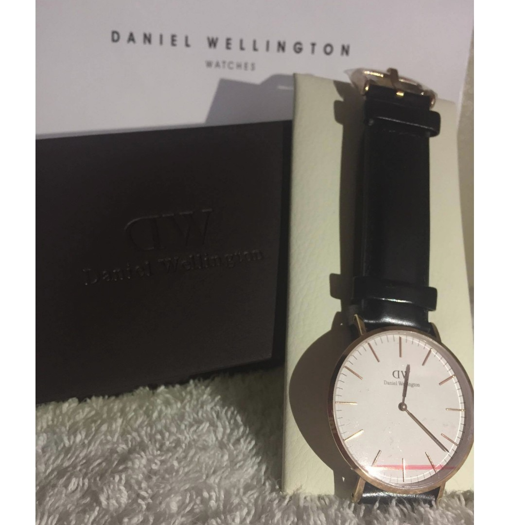 Authentic Daniel Wellington Black Leather Watch