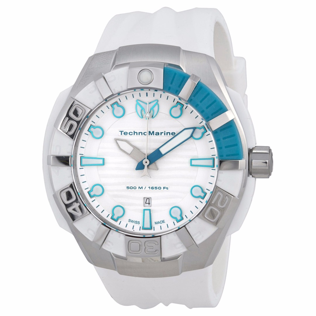 Authentic Technomarine Unisex 512003s White Silicone Strap Watch