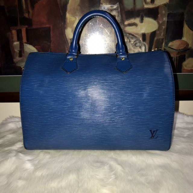 Authentic Vintage Louis Vuitton Speedy 30 Epi Leather Blue