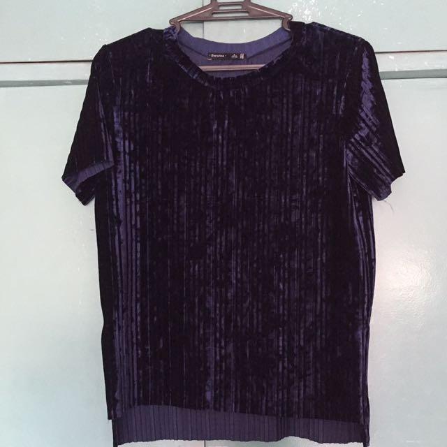 Bershka Blue Velvet Shirt