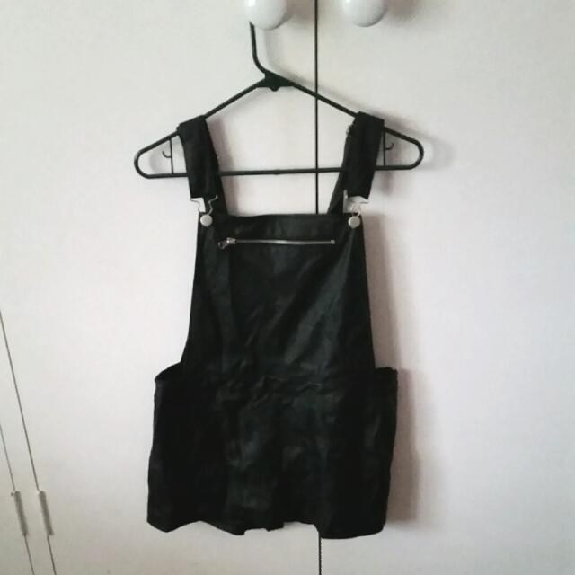 **Black Leather Overalls
