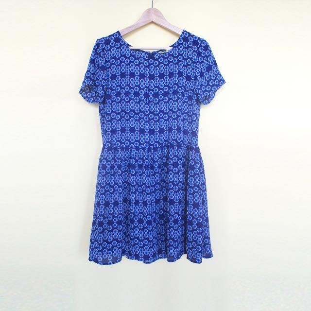 Blue Geometric Floral Dress