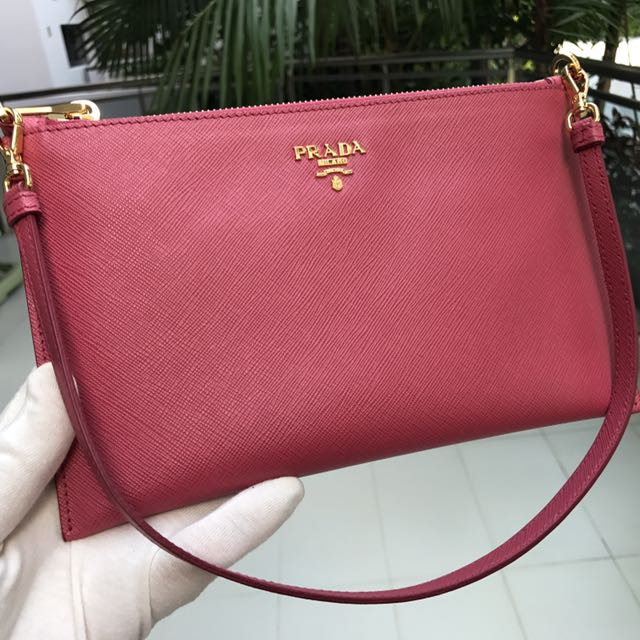 db3559e9f882b6 ... usa brand new100 authentic prada peonia saffiano leather pouch wristlet clutch  bag 1nh004 luxury bags wallets